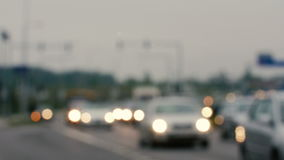 Unfocused view on traffic jams in Lithuania, Blurred scene. stock footage