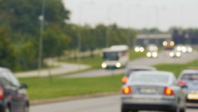 Unfocused view on traffic jams in Lithuania, Blurred scene. Unfocused view on traffic jams in Vilnius, Lithuania, Blurred scene stock footage