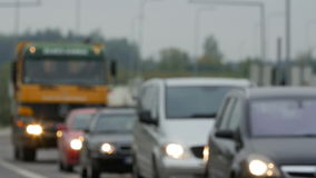 Unfocused view on traffic jams in Lithuania, Blurred scene. stock video
