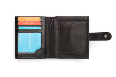 Unfolded Black Leather Wallet with Latch Royalty Free Stock Photos