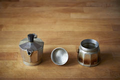 Unfolded moka pot Stock Images