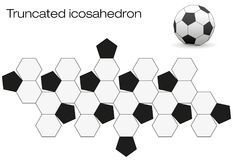 Unfolded Soccer Ball Truncated Icosahedron. Unfolded soccer ball surface. Geometric polyhedron called truncated icosahedron, an Archimedean solid with twelve Stock Image