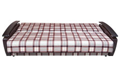 In unfolded state of sofa bed plaid fabric, on white. Stock Photos