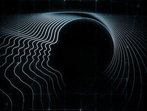 Unfolding of Soul Geometry. Geometry of Soul series. Design made of profile lines of human head to serve as backdrop for projects related to education, science Stock Photography