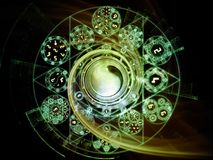 Unfolding of Symbolic Meaning. Numeric Connection series. Graphic composition of number and fractal geometry symbols  for subject of magic, math and occult Royalty Free Stock Images