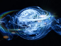 Unfolding of Turbulence. Arrangement of technological design elements and circular turbulence on the subject of signal processing, communications and modern Stock Image