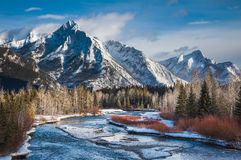 Unforgettable Canada-Kananaskis Country. Mount Lorette, along Kananaskis River in K-Country, Alberta,Canada Stock Photos