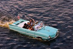 Unforgettable and thrilling experience of a Captain's Guided Tour in a vintage Amphibious car. Orlando, Florida; August 13, 2018. Unforgettable and royalty free stock images