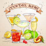 The Unforgettables Cocktail menu Stock Image