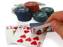 Unfortunate combination of poker. On a white background stock images