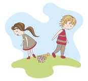Unfortunate date. Of abstract boy and girl vector illustration Royalty Free Stock Photos