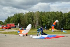 Unfortunate parachute landing fall. Russia royalty free stock image