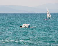 The unfortunate twist on the sailing competitions in Pomorie. Bulgaria Stock Photos