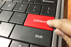 Unfriend alguém Imagens de Stock