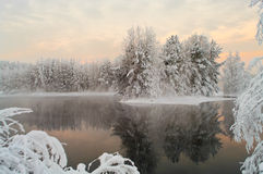 Unfrozen lake in the winter forests Stock Image