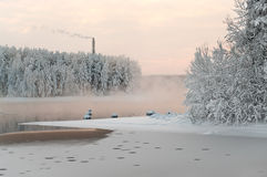 Unfrozen lake in the winter forests Royalty Free Stock Photography