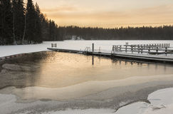 Unfrozen swimming place in winter Royalty Free Stock Images