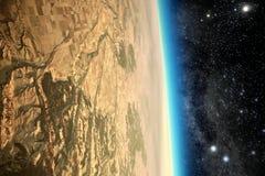 Unfruchtbarer toter Planet im Raum Stockfotos