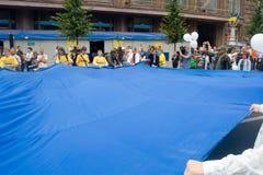 Unfurling della bandiera nazionale dell'Ucraina Immagine Stock Libera da Diritti