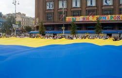Unfurling della bandiera nazionale dell'Ucraina Fotografia Stock Libera da Diritti