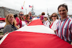 Unfurling of large US Flag for Bicentennial of War of 1812 Stock Photography