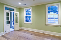 Unfurnished bedroom with porch stock image
