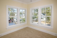 Unfurnished bedroom with view. Place your own furniture Royalty Free Stock Image