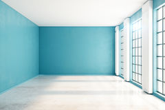 Unfurnished blue interior front. Front view of unfurnished spacious blue interior with windows, city view and sunlight. Mock up, 3D Rendering Stock Images