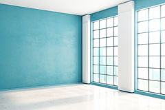 Unfurnished blue interior side. Side view of unfurnished spacious blue interior with windows, city view and sunlight. Mock up, 3D Rendering Stock Photo