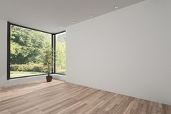 Unfurnished bright room with wooden parquet Stock Image