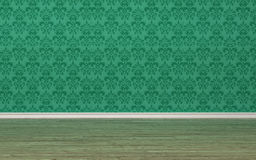 Unfurnished room interior with green wallpaper Stock Image