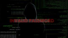 Ungültiges Passwort, erfolgloser Versuch, System, enttäuschten Verbrecher zu knacken stock video footage