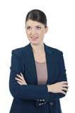 Ung affärskvinna i en klå upp Royaltyfri Foto