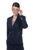 Ung affärskvinna med exponeringsglas Arkivfoton