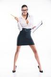 Ung affärskvinna med formen och blyertspennan Royaltyfri Fotografi
