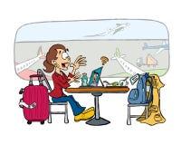 Ung affärskvinna på en appell på flygplatsen vektor illustrationer