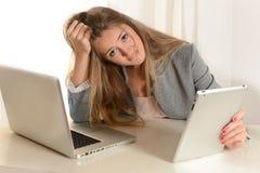 Ung affärskvinna som är stressad på arbete Fotografering för Bildbyråer