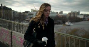 Ung affärskvinna som går över en bro i centrala Stockholm stock video