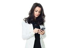 Ung affärskvinna som isoleras på vit royaltyfria bilder