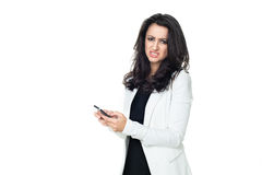 Ung affärskvinna som isoleras på vit royaltyfri foto