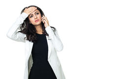 Ung affärskvinna som isoleras på vit royaltyfri bild