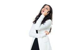 Ung affärskvinna som isoleras på vit arkivbild