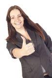Ung affärskvinna som visar hand det ok tecknet Arkivfoto