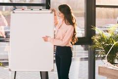 Ung affärskvinnadanandepresentation och peka på den tomma whiteboarden fotografering för bildbyråer