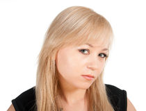 Ung affärskvinnastående för härlig europé som isoleras över en vitbakgrund Royaltyfri Foto