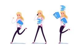 Ung affärsman Character Design Uppsättningen av affärskvinnan som agerar i dräkten som i regeringsställning arbetar, olika sinnes vektor illustrationer