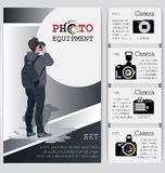 Ung affärsman med en kamera och ett sortiment av kameror royaltyfri illustrationer