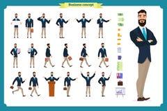 Ung affärsman Olikt poserar och sinnesrörelser, spring, anseendet, sammanträde, att gå, lyckligt som är ilsket stock illustrationer