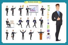 Ung affärsman Olikt poserar och sinnesrörelser, spring, anseendet, sammanträde, att gå, lyckligt som är ilsket royaltyfri illustrationer