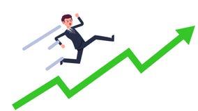 Ung affärsman som är rinnande upp med den gröna växande grafvektorn Löneförhöjning för tecknad filmaffärsman med linjen Framgång- stock illustrationer